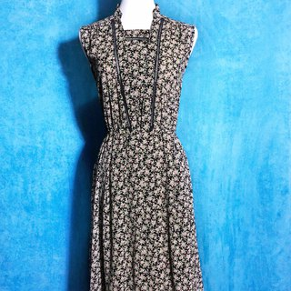 Special collar hollow flowers sleeveless vintage dress / abroad to bring VINTAGE