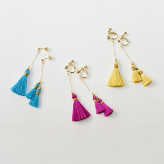 イヤリング/Asymmetry tassel earrings