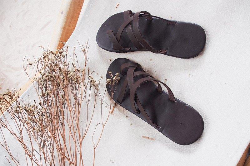 棕色皮革涼鞋夏季涼鞋,波西米亞鞋酷酷的時尚