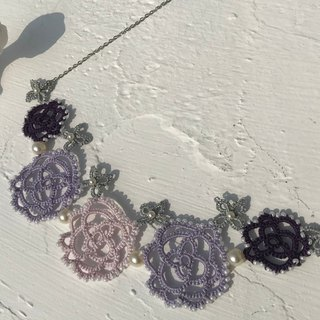 tatted rose necklace (purple) / gift / Swarovski crystal pearl / customize