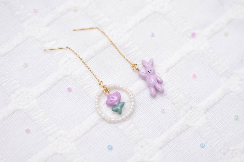 Doll Series - Bunny and Flower Earrings