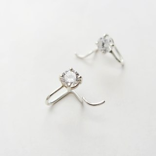 925 Silver Exclusive Individuality - Zircon Smile Earring-Sold Individually