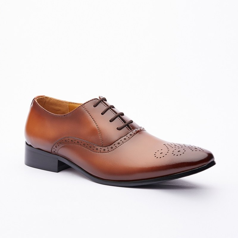 Kings Collection Genuine Leather Grimaldi Shoes KG80003 Brown
