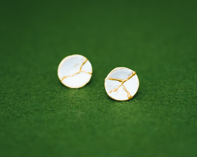 Japanese Kintsugi small earrings - plates - Silver gold - Hypo-allergenic