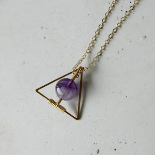 Myth Triangle brass necklace Amethyst February Birthstone