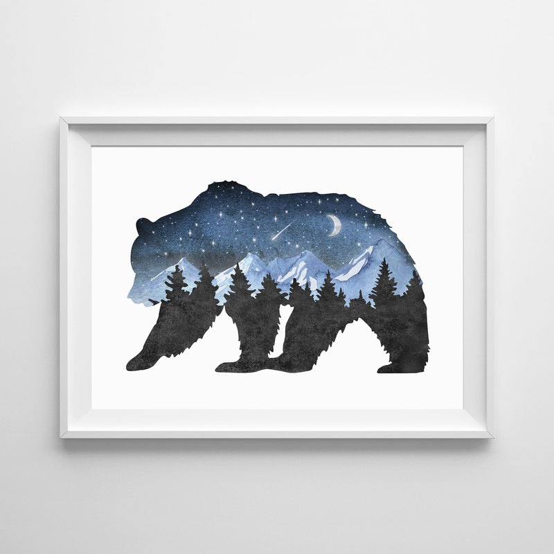 Forest bear print Customizable painting poster