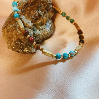 Cure_Blue Tiger Eye Phosphor Natural Stone Brass Bracelet
