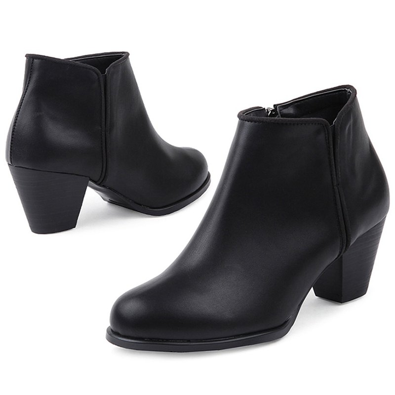 PRE-ORDER - SPUR 簡約高跟短靴 HF9119 BLACK