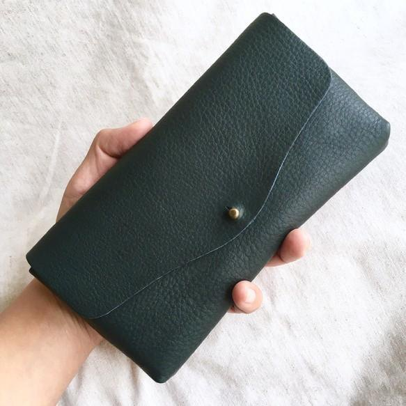 Simple long purse navy of cow shrink leather and cow suede