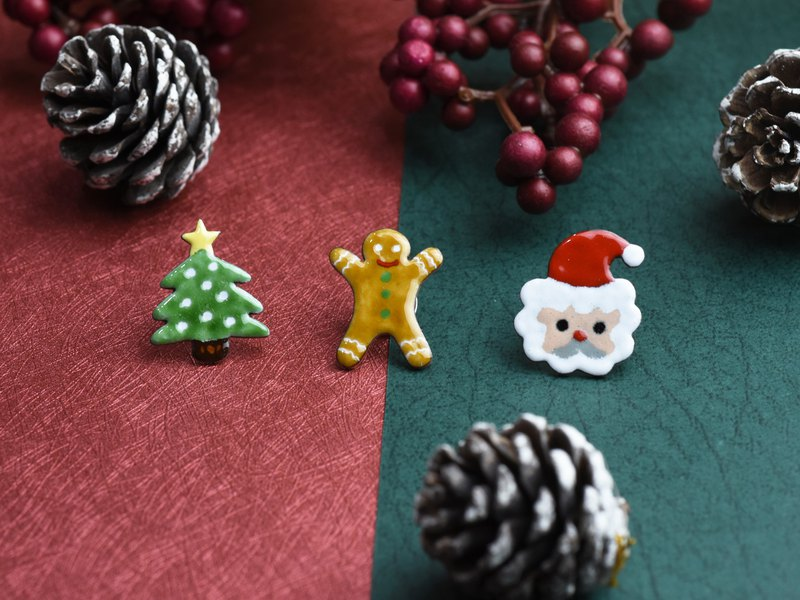 Christmas Good Q Series - Christmas Tree, Gingerbread Man, Santa Claus (珐琅 Badge Brooch)