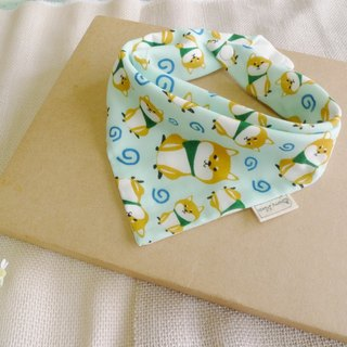 Six yarn triangle bibs - Cute Shiba Inu (light green)