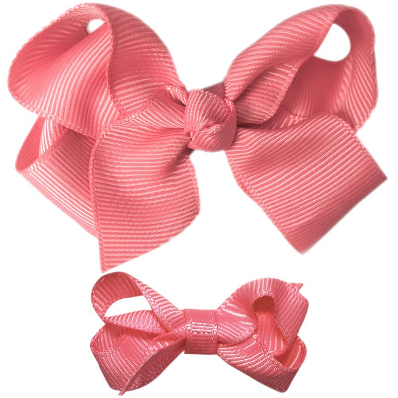Cutie Bella Bow All Inclusive Handmade Hair Accessories Small and Medium Set 2 Hair Clips - Coral