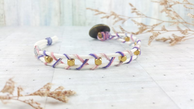 Spring cherry powder purple gradient layer _ Korea wax rope bracelet
