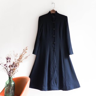 River Water Mountain - elegant classic black stand collar umbrella antique wool dress long dress coat coat wool vintage coat wool overcoat overalls vintage dress