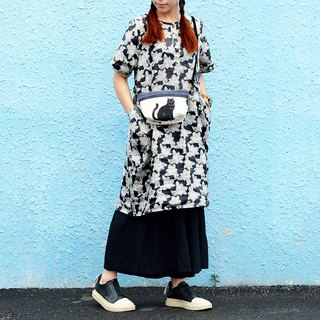 Maverick Village cotton and linen comfortable loose dress long coat [mysterious engraving] black ash J-41 limited edition