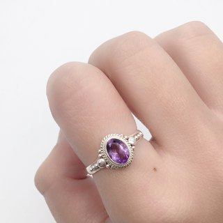 Amethyst Sterling Silver Elegant Ring Nepal handmade mosaic production