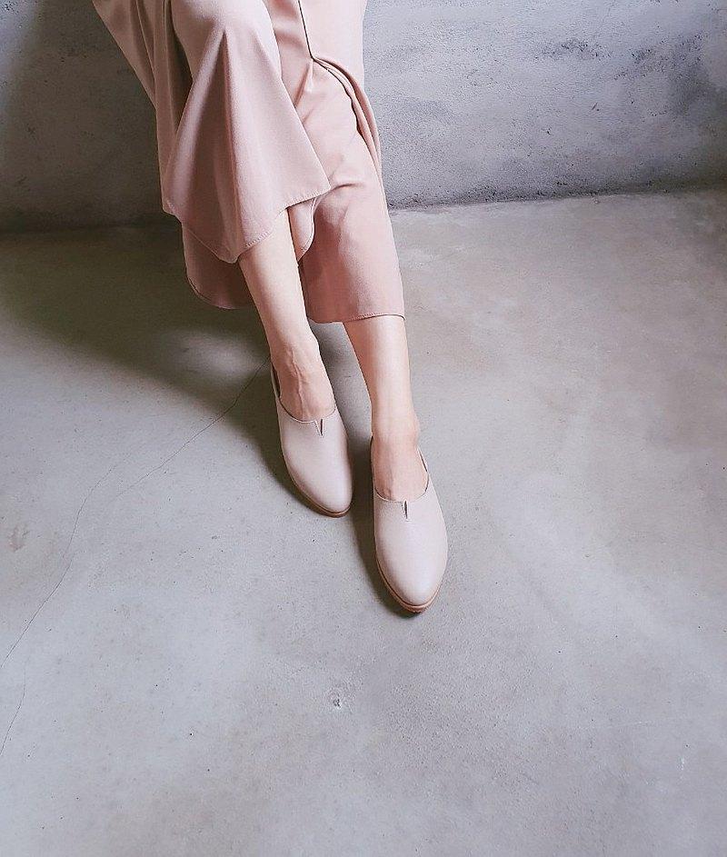 【法式簡約】小v口精靈穆勒鞋_奶茶 |手工訂製| MIT