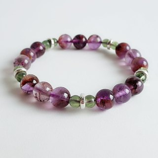 Iris flower natural ore purple ghost green apatite 925 sterling silver ‧ bracele