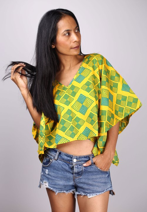 kaftan tops V-shaped collar, put to sea. African tribal prints bumper funky blouse for summer.