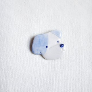Puppy Face Bandit brooch blue
