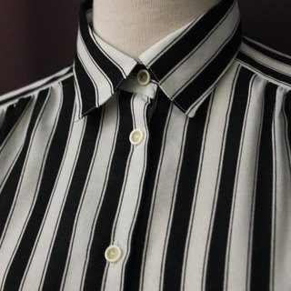 Vintage European Simple Black and White Striped Loose Long Sleeve Vintage Shirt Vintage Blouse