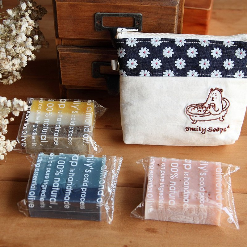 Bathing bear cosmetic bag with 3 into soap blessing bag