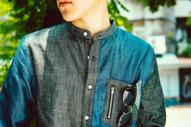 Stitched denim shirt with no collar (black X midnight blue) - for men