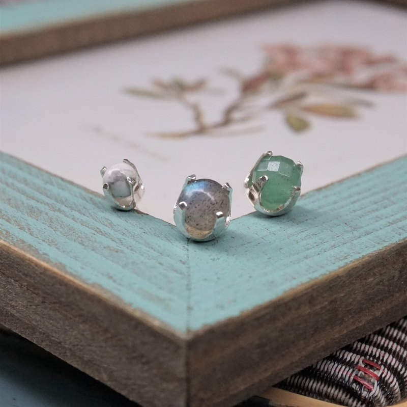 << Natural Color Ear Set >> 925 Sterling Silver Earrings - Limited Offer