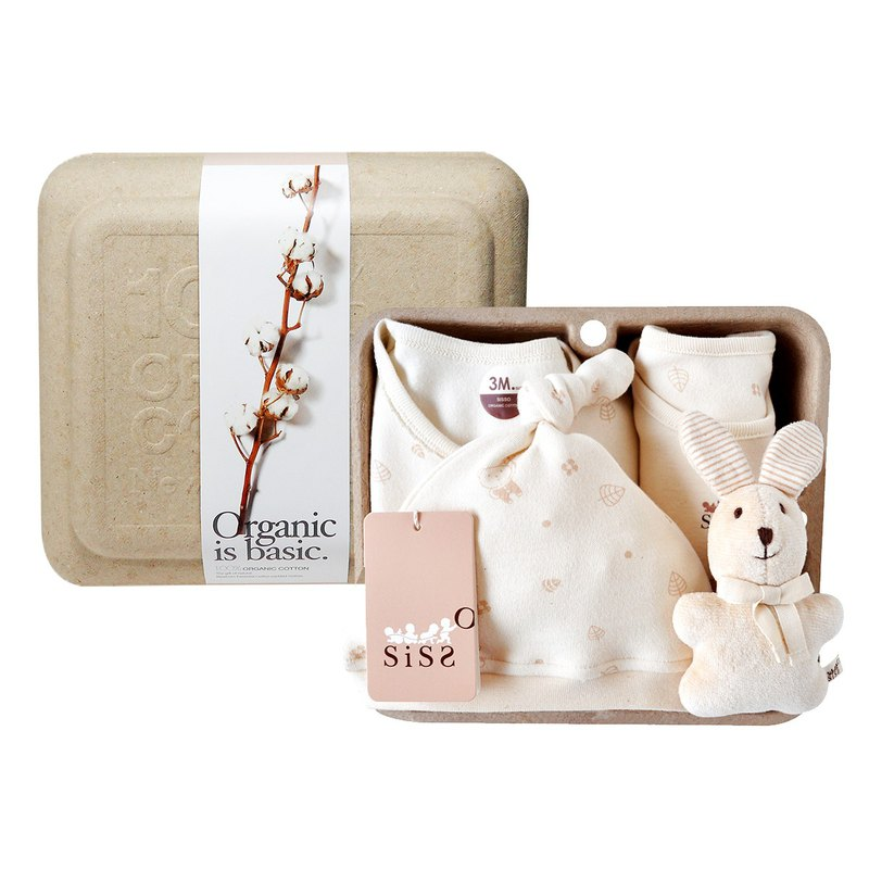 [SISSO organic cotton] small leaves fluttering with rabbits gift box (Café rabbit) 3M 6M