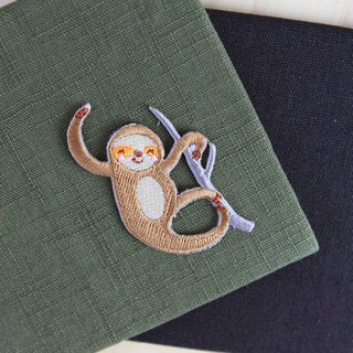 Playful sloth - self-adhesive embroidered cloth affixed tree sloth series