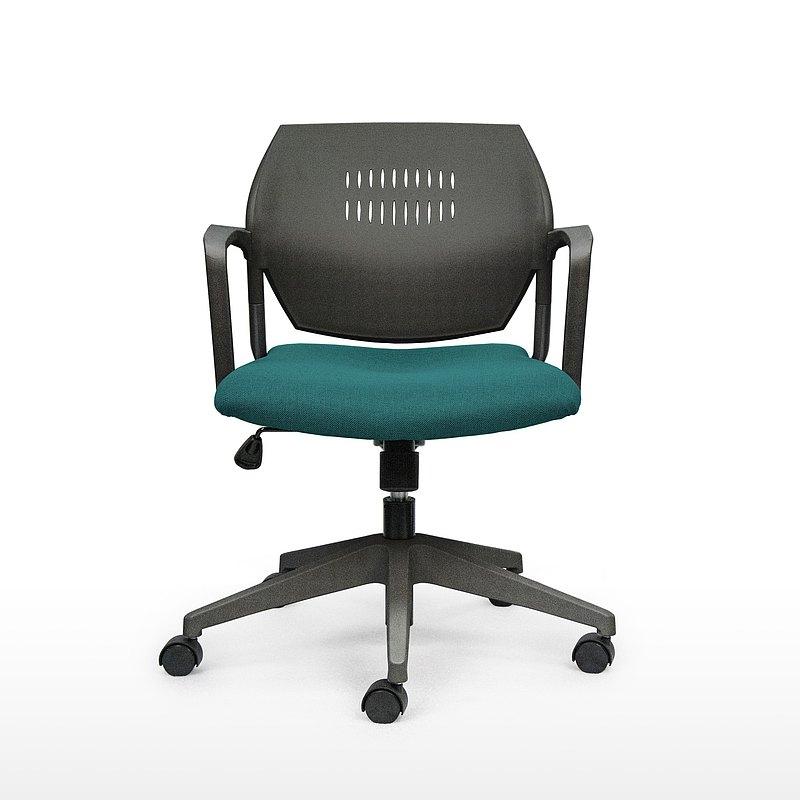 IMPRESSA | 小資扶手辦公椅 - 黑 x 湖水綠座