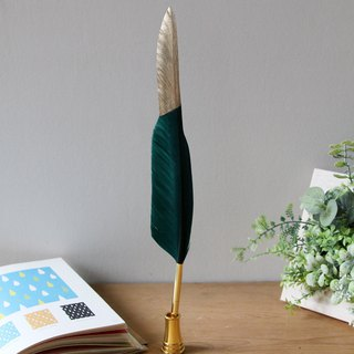 Japan Magnets luxury style feather shape black ball pen (green gold mix) - spot