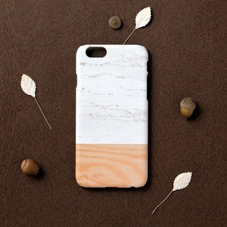 iPhone case - White Marble mix with wood pattern - iPhone X, iPhone 8