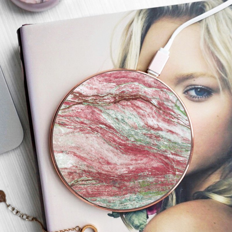 Marble Pattern 02 Red Wireless Qi Charger