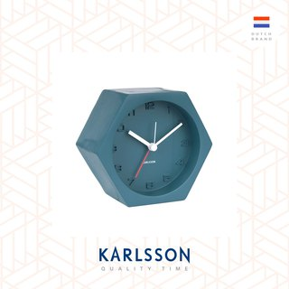 Karlsson, Alarm clock Hexagon concrete Petrol blue, Design by Boxtel Buijs