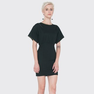 Wide Sleeve Piping Pencil Dress (Black)