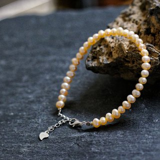 Orange Fresh Water Pearl Silver 925 Bracelet with Linear Memory Alloy