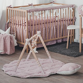 Wooden baby play gym and mobile accessories (pink)
