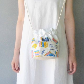 Side bucket bag _ blue gold bookstore