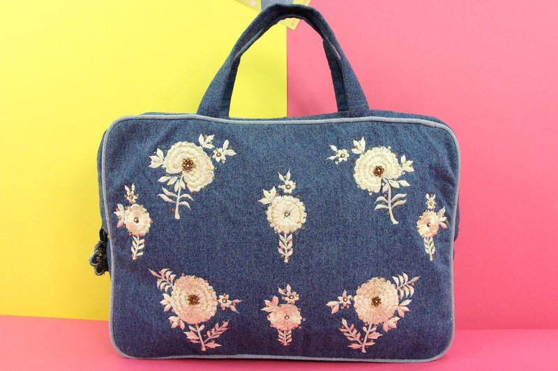 Glamorous Idea Denim Embroidered Computer Bag