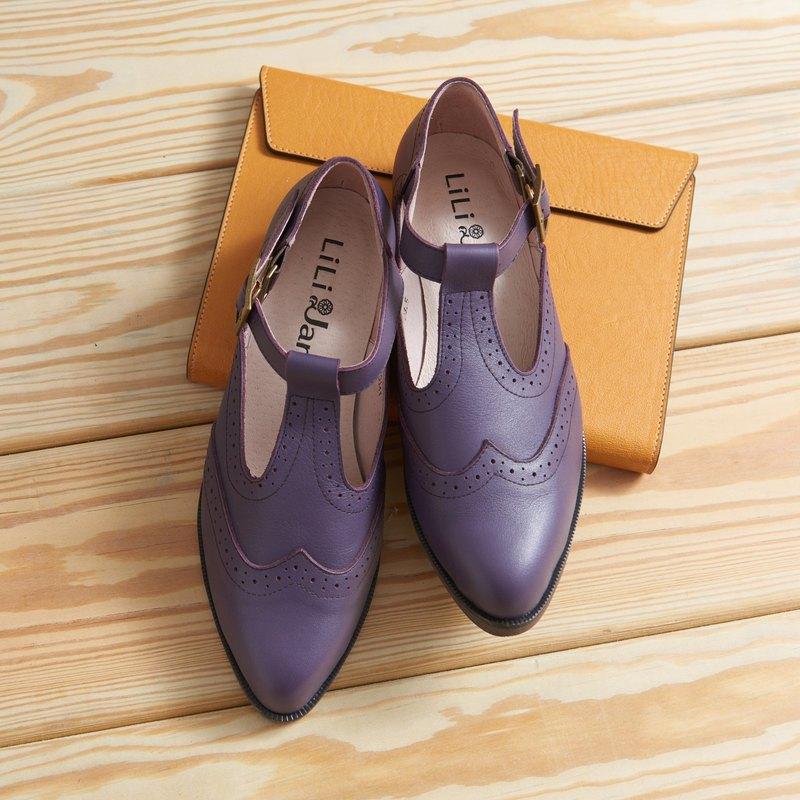 【搖擺年代】復古雕花T字牛津鞋-復古紫