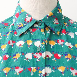 Japanese retro cute little flowers Tififany blue short sleeve vintage shirt Vintage Blouse