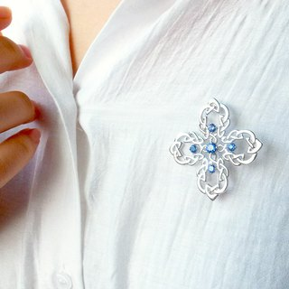 Four-leaf classical diamond brooch pendant 925 sterling silver