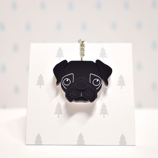 Black pug - key ring acrylic