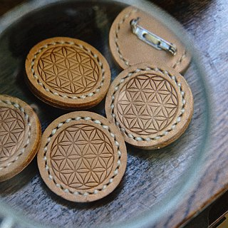 | Limited brooch | Flower of Life | handmade leather