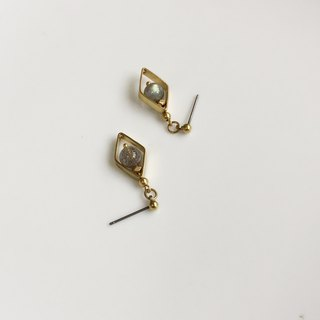 Phase-Spectrum Stone Brass Earrings