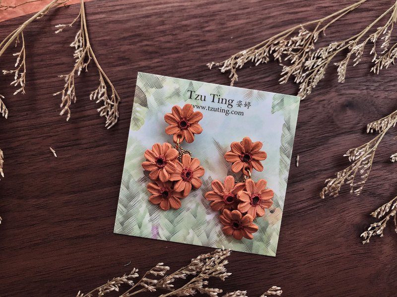 Zi Ting hand made daisies African orange classic four design jewelry earrings stainless steel nails
