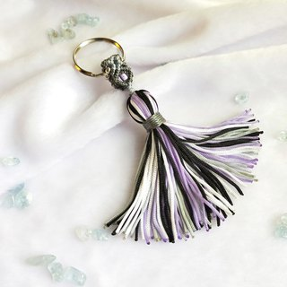 K011-Hand-woven beaded key ring personality purple black small tassel