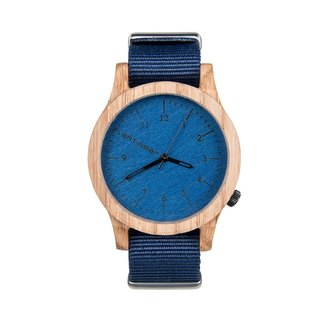 Plantwear – HERITAGE SERIES – BLUE EDITION - OAK WOOD TIMBER WRIST WATCH