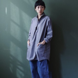 OMAKE collar embroidered wide length pocket shirt gray
